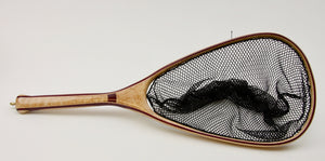 Landing net of birds eye maple and purple heart.