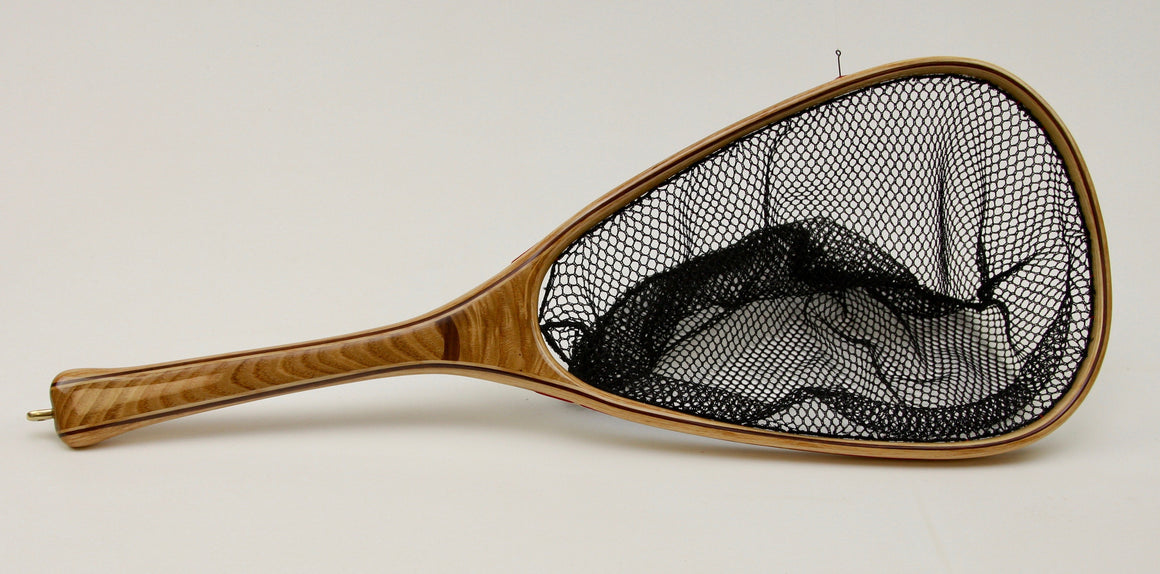 Tradistional chestnut landing net with walnut inset.