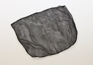 Black landing net bag against a white back ground.