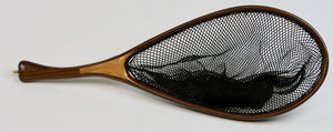 Landing net with curved handle and elongated hoop in walnut.