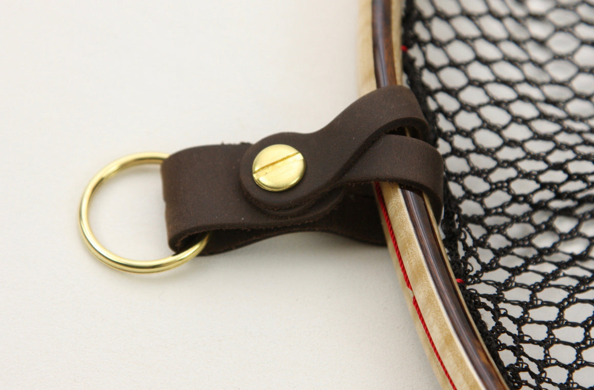 River Fork Landing Net Strap, Leather and Brass Net Hanger
