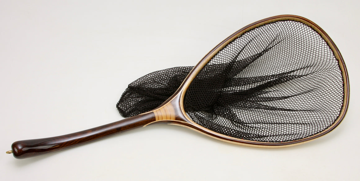 Custom landing net with dark curved handle and large hoop.