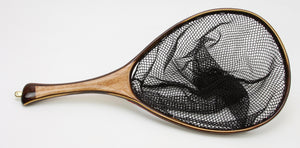 Landing net with dark wood hoop and light wood handle.