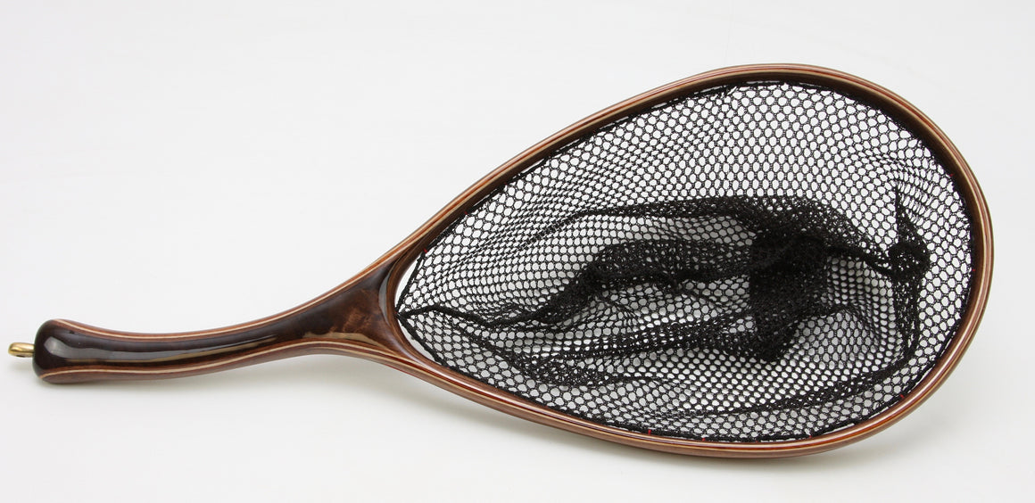 Lustrous brown custom landing net.
