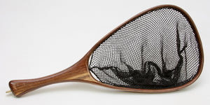 Wooden fly fishing net of brown walnut.