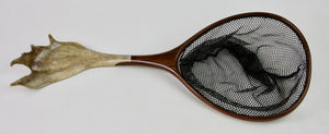 Custom landing net with caribou antler handle.