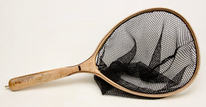 Landing net with brook trout inlay.