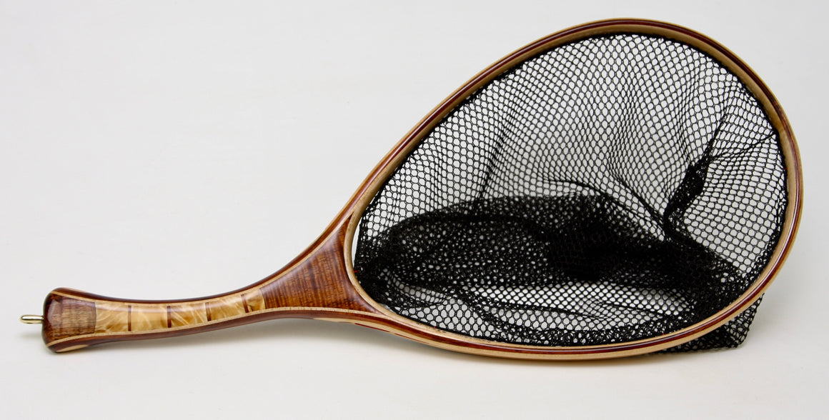 Custom wooden landing net with heavily firgured maple and koa.