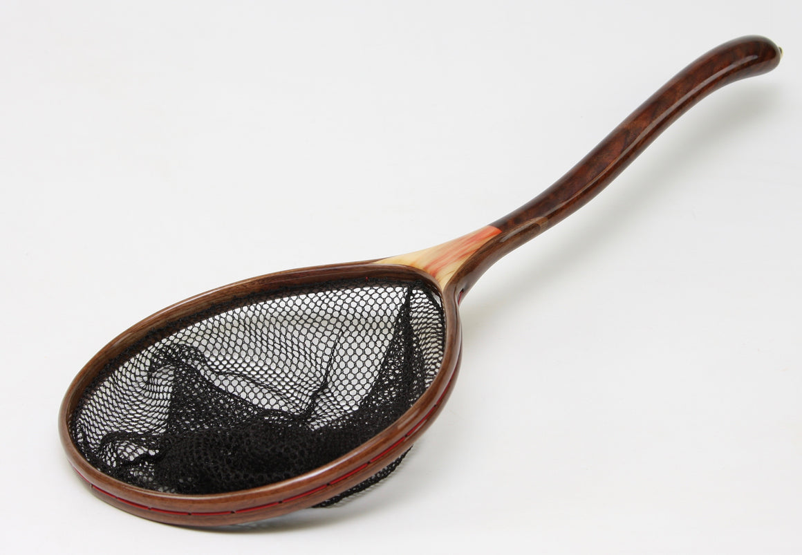 Landing net with a double curved net handle.