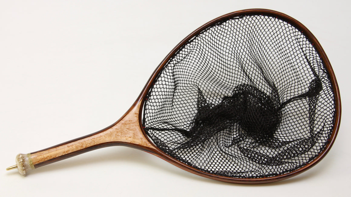 Medium sized Custom Fly Fishing Net : Birdseye Maple and Texas Ebony with Deer Antler Burl