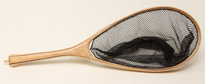 Landing net with longer handle and elongated hoop.