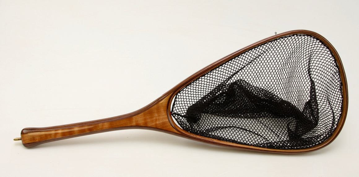 Custom landing net with curly cherry handle.