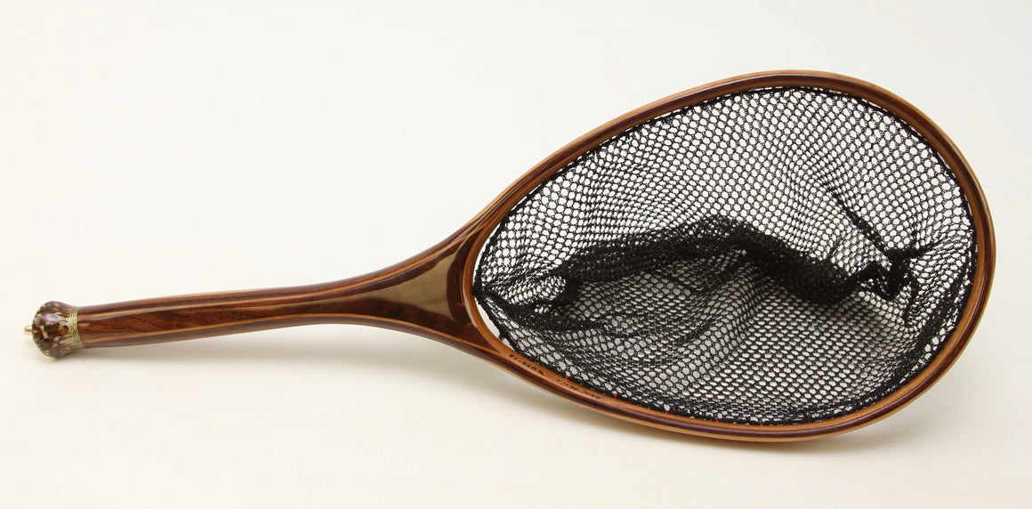 Small dark brown landing net with deer antler handle detail