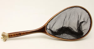 Koa landing net with deer antler end cap.