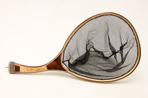 Landing net with curved handle, made of Texas ebony and maple.