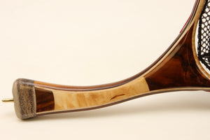 Curved landing net handle of Texas ebony, burl maple and antler.