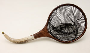 Small sized Custom Fly Fishing Net : Elk Antler and Walnut