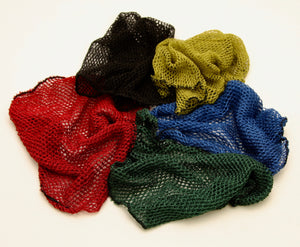 Black, khaki, red, blue and green landing net bags