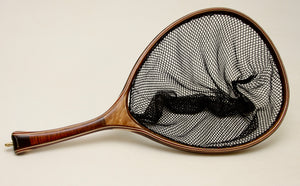 Landing net of maple and koa with a gently curved hand.
