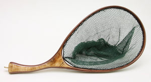 landing net with curved handle and figured maple