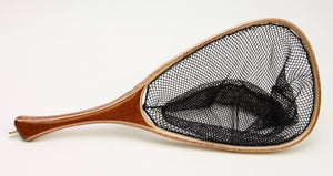 Landing net with very dark red mahogany handle.