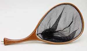 c/p Medium sized landing net in Mahogany and maple  with curved handle.
