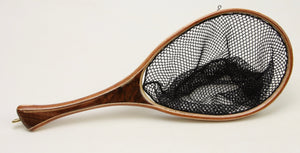 Small landing net with dark walnut handle.