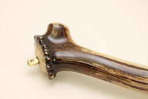 Close up of elk antler handle.
