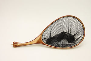 Curved handle landing net.