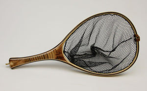 Custom landing net with segmented bamboo handle.