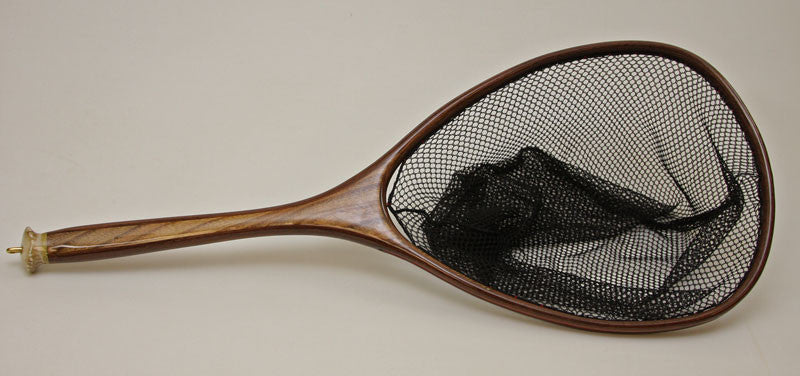 Hand crafted landing net with deer antler handle end.