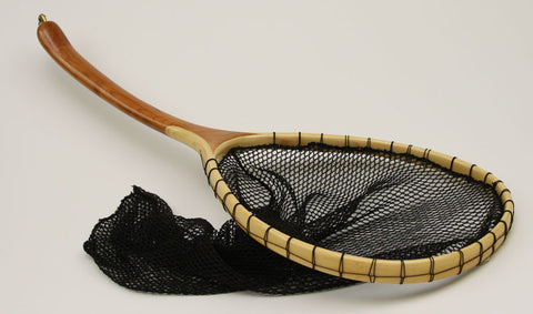 Medium sized , Uniquely shaped Fly Fishing Net : Carved Cherry and Bamboo