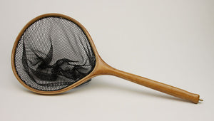 Landing net with circular hoop and long handle.