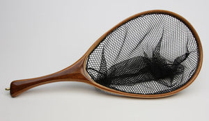 Custom landing net in shades of brown.