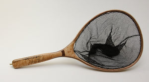 Landing net with brown trout inlay.