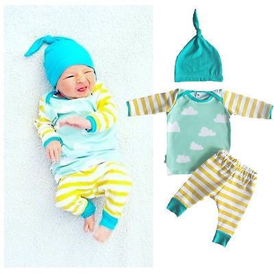 Whimsical 3 piece cutie for a newborn boy or girl