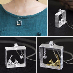 Distinctive Cat in a Box Necklace