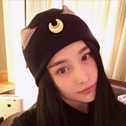 Oh So Pretty Sailor Moon LUNA Style Knitted Beanie