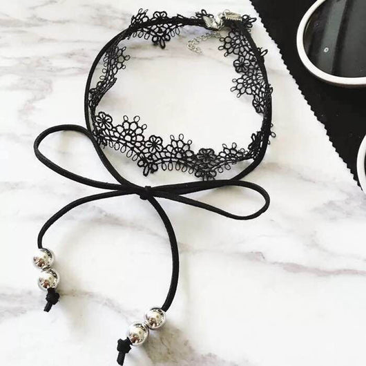 Sexy and Alluring Black Lace and Faux Suede Choker