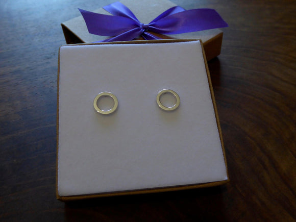 Circle Stud Earrings, Handmade Hoop Studs