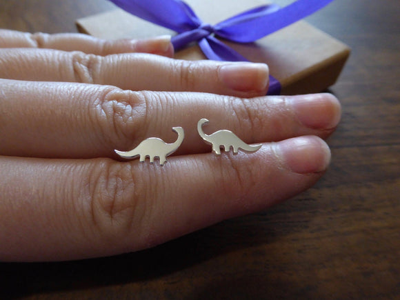 Silver Dinosaur Earrings, Brontosaurus Studs