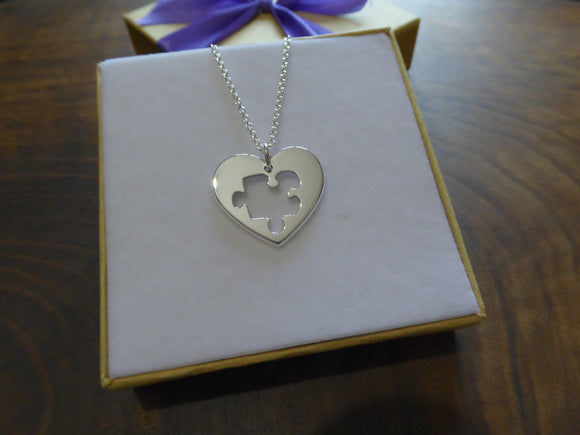 Silver Heart with Puzzle Necklace
