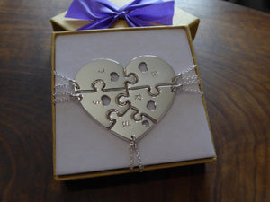 Silver Five Piece Heart Necklace