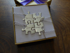 Four Puzzle Pendants with Personalisation
