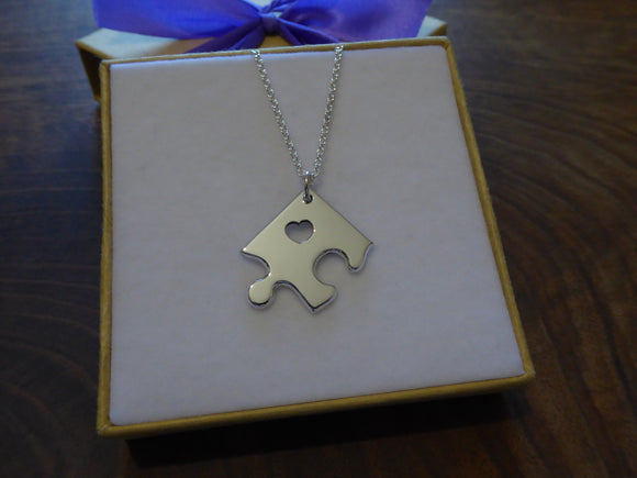 Silver Jigsaw Puzzle Necklace