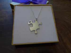 Silver Puzzle Necklace with Heart