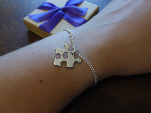 Handmade Puzzle Charm Bracelet with Heart