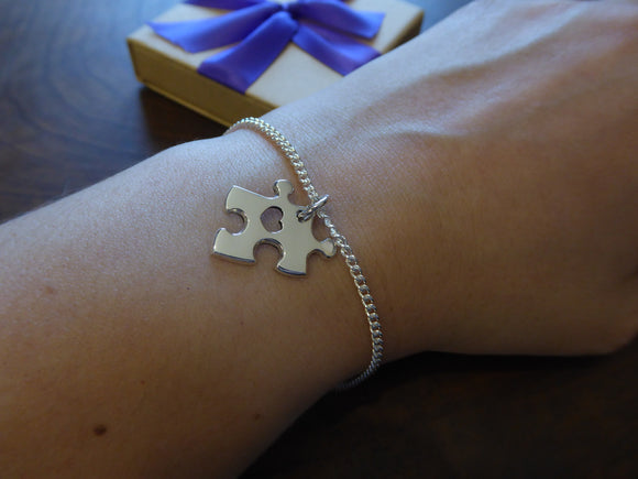 Puzzle Charm Bracelet with Heart