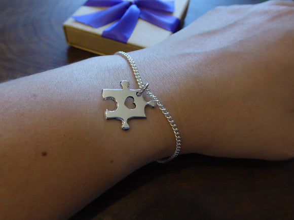 Silver Puzzle Charm Bracelet with Heart