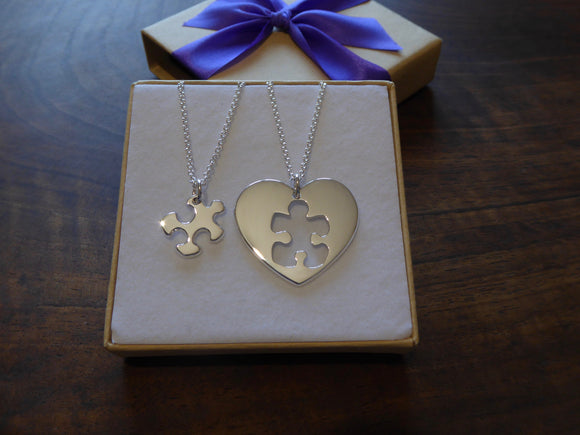 Best Friend Puzzle and Heart Necklace